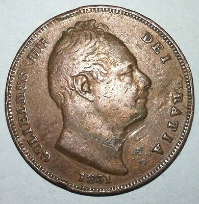 King William IIII 1831 Copper Farthing
