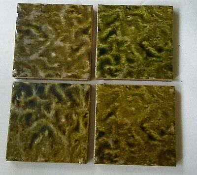 4 Minton Hollis olive green fireplace hearth antique tiles textured pottery lot