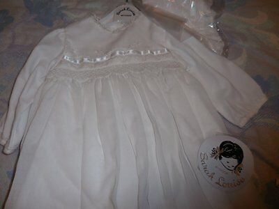 nwt Sarah Louise white smocked Christening gown bonnet dress baby girls 6 m