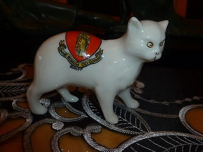 "Unmarked Crested China model of a Manx Cat. Crest for  "" BANFF"""