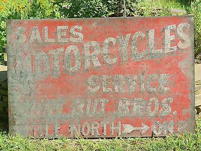 XX Cool Antique 1930s-1940s MOTORCYCLES SALES/ SERVICE Sign from Nebraska XX