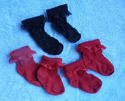 Childrens/kids clothes GIRL 2-3 yeas 3 pairs socks rust-red/black fold over tops