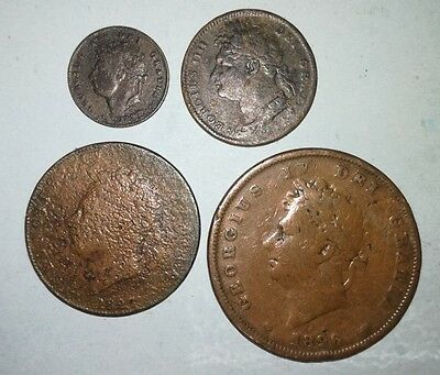 King George IV one third farthing 1827 1826 farthing 1827 half penny 1826 penny