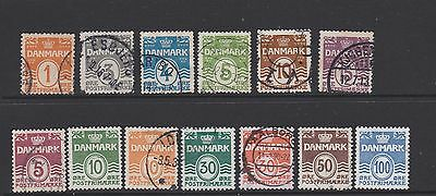 """Denmark. Two small groups of different """"Waves and numerals"""" stamps"""