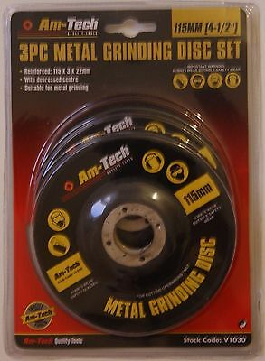 """3PC METAL GRINDING DISC 115MM. 4 1/2"""" Angle Grinder Discs for Metal. Am-Tech"""