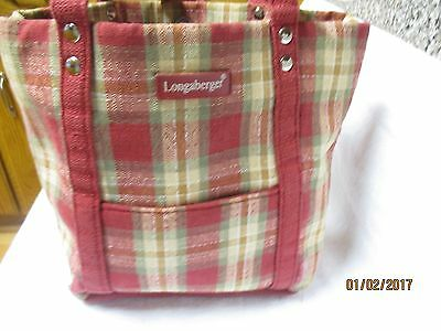 Longaberger Small red and green plaid cloth 2 handle tote