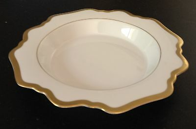 ANNA WEATHERLEY rim soup plate ANTIQUE WHITE WITH GOLD - list $78 - NEW