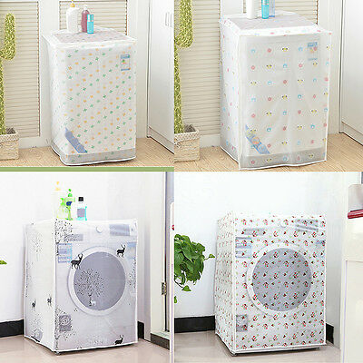 Floral Waterproof Washing Machine Zippered Dust Cover Protection Durable Case