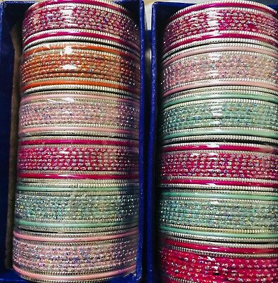 Colorful Mehndi Sangeet 10 Dzs Colorfull Assorted Bangles Size 2.8 Bollywood