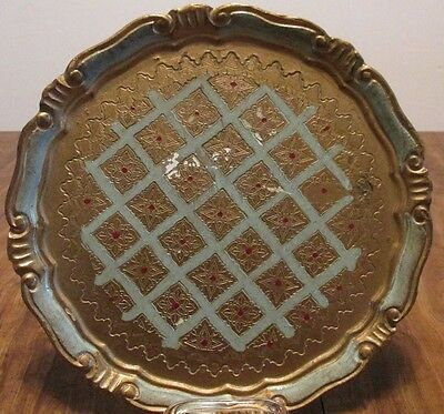 Vintage Florentine Painted WOOD TRAY Tole Round Aqua Lattice on Gold wLabel 11""