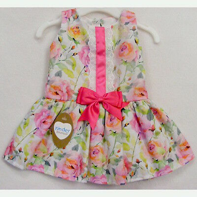 Baby Girls Spanish Style Watercolour Floral Bow Dress 0-24 Month 2-3 & 3-4 Years