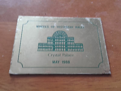 1988 Brass plaque for Wheels of yesterday rally