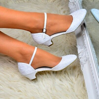 Ladies Low Heel Wedding Shoes Bridal Lace Mary jane Ankle strap Court Shoes Size