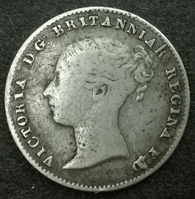 Queen Victoria Silver Threepence Coin 1859 D of FD over A?