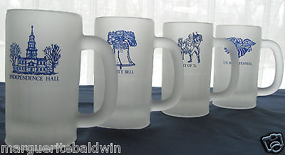 Indiana Glass 4 Frosted 12 oz USA Commemorative Tankards Mugs Steins VINTAGE