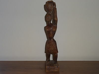 Antique African wood wooden hand carved hand carved female figure
