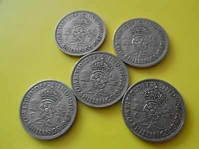 5 Two Shilling Coins 1947 ( 70 Years ) Ideal Birthday Gift Or Card Craft Toppers
