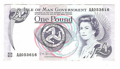 Banknote of the isle of man one pound low serial no. Very fine condition.