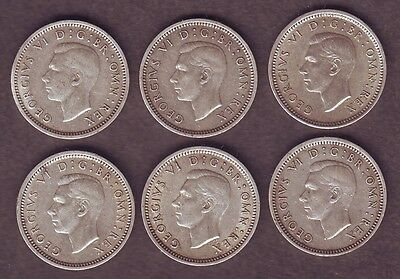 George VI 50 % Pure Silv Threepence Coins 1937 1938 1939 1940 1941 Key date 1943