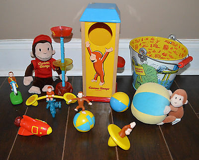 Lot of 10 Original Curious George Adventures rocket Tin Bike Rattle Monkey Toys