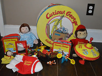 Lot of 13 Original Curious George Adventures rocket Tin Puppet Box Monkey Toys