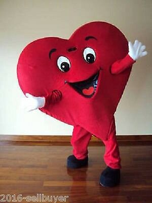 New Red Love Heart Mascot Costume Christmas Party Dress Adult Size