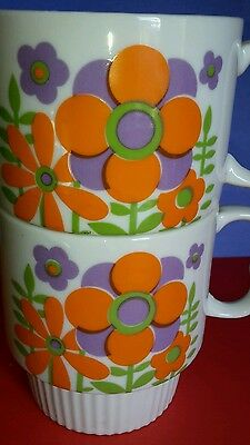 Vintage pair flowered stacking cups mugs coffee tea kitchen collectibles