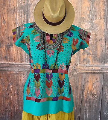 Turquoise & Multi-Color Corn Motif hand embroidery Huipi Blouse Mexican Hippie