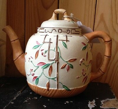 Antique Brownhills And Co Pottery Aesthetic Bamboo & Trellis Teapot C1885