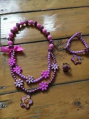 Disney Rapunzel Necklace, Bracelet  And Ring Pink & Purple