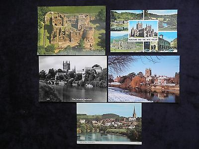 5 Herefordshire Postcards Wye Valley, Cathedral, Ross on Wye, Goodrich Castle