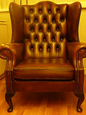 Chesterfield Armchair Queen Anne High Back Wing Chair Antique Brown Leather