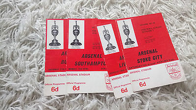 Collection of 4 1967-1968 Arsenal programmes