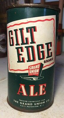 Vintage Gilt Edge Brand Ale Steel Flat Top Beer Tin Can Advertising Grand Union