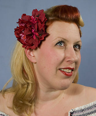 Wedding Bridal Dance Pin-Up Rockabilly  Red & Pink Peony & Lilys Hair Flowers