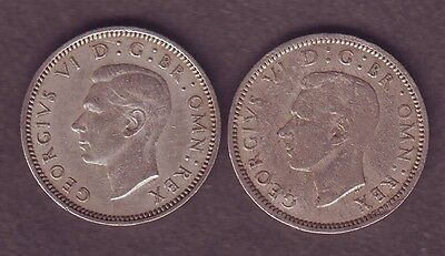 King George VI two Sixpence Coins 1952 Cupro  Key Date