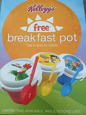Set of 8 Kelloggs Breakfast On The Go Pots. Coco pops. Rice Krispies. Cornflakes