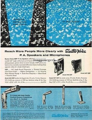 1957 Electro-Voice PA Speakers Microphones Vtg Print Ad