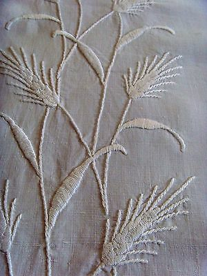 Hand Embroidered Large Linen Refectory Tablecloth Whitework Poppies Wheat Lace