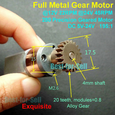 DC 5V-24V 6V 12V 45RPM Speed Reduction Gear Motor Full Metal Gearbox Gear Motor
