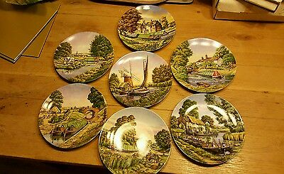 Set Of 7 Roger Kents 'romance Of The Waterways' Decorative Plates