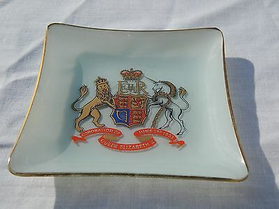 Queen Elizabeth II painted Coronation Unicorn Lion Glass Ashtray June 2nd 1953