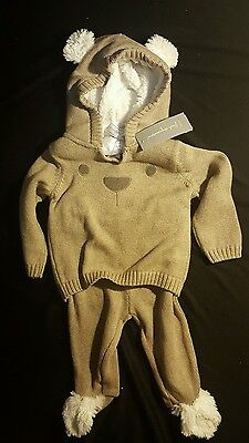 New Baby Boy Girl 0 to 3 month 2 piece Brown Bear Suit Holiday Sweater Gift Set