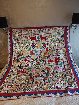 antique hand embroidery wall hanging throw textile