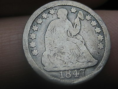 1847 Seated Liberty Half Dime- Good/VG Details