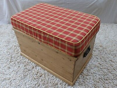Antique pine chest with handy cushion on top