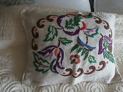 vintage hand embroidery cushion cover