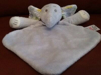 Tesco F&F Blue Elephant Comforter Blankie Soother Fabric Ears Soft Toy 28cm x 25