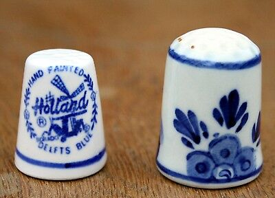 Holland blue china thimbles x 2