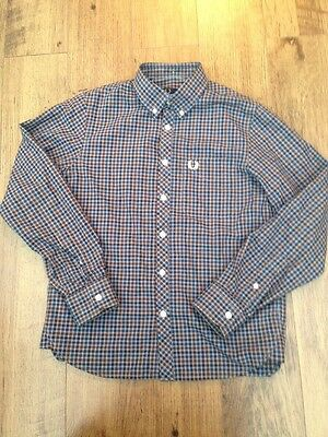Fred Perry Youth Shirt, Check, Button Down Collar M